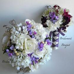 13 Piece Real Touch White Rose and Lilac Bridal Flower Package - Made to Order