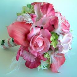 Pink Bridal Bouquet and Boutonniere Set with Feathers and Real Touch Flowers- Ready to Ship
