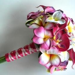 PINK Tropical Bridal Bouquet with Real Touch Plumerias, Calla&#039;s and Orchids - Made to Order